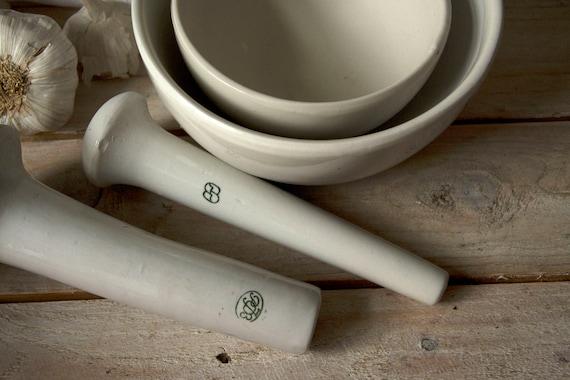Laboratory crucible Laboratory ware Vintage mortar and pestle set Porcelain mortar and pestle set Pottery cup Large porcelain cup