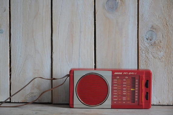 Vintage miniature radio, Vintage speaker, Deco radio, Red radio, Tiny radio in original box, Mid century modern speaker, Collectible radio
