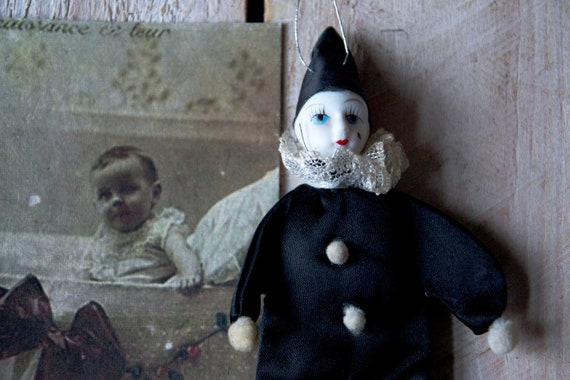 Vintage Pierrot doll, Clown doll, Porcelain Pierrot, Vintage doll, Collectibles, Home decor, Shabby chic, Black & white doll