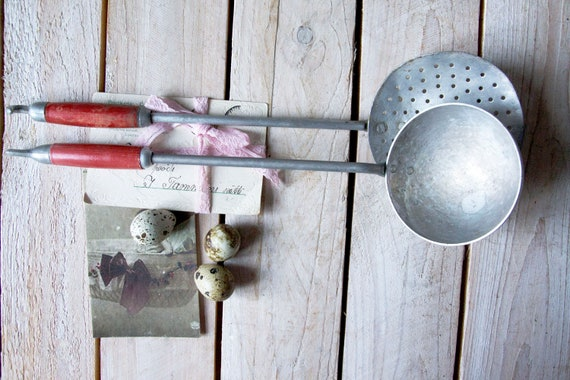 Vintage strainer, Vintage ladle, Skimmer, Straining spoon, Enamel cooking utensil, Rustic kitchen decor, Cooking utensil, Photography props