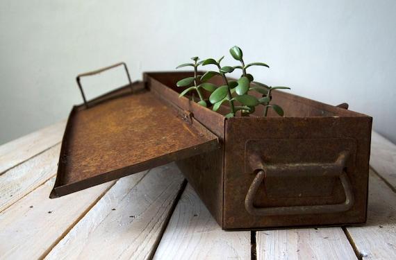 Vintage tin tool box, Large portable box, Rustic tin tackle, Large storage box, Metal chest, Rustic storage, Storage box, Primitive toolbox