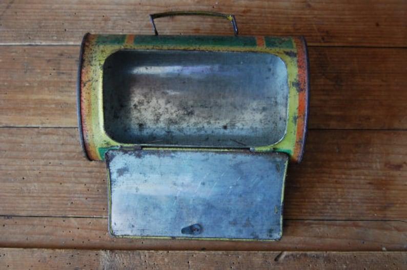 Small tin suitcase Tin briefcase Vintage storage Mini luggage suitcase Old childrens suitcase Vintage storage box Vintage suitcase