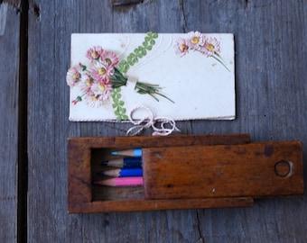 Vintage wooden pencil box, School pencil box, Pen case with lid, School supplies, Wooden chest, Rustic storage, Primitive organization box