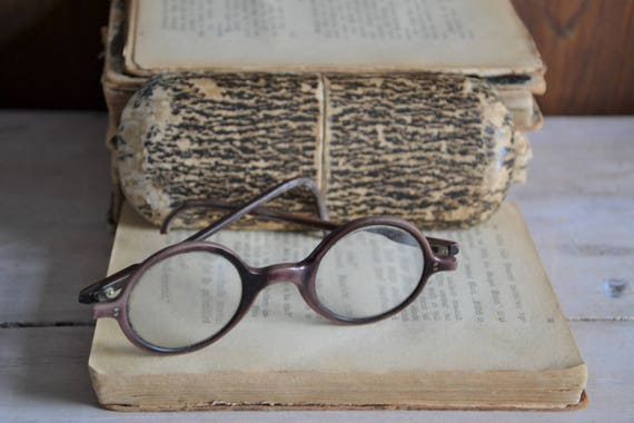 Antique eyeglasses, Antique round brown eyeglasses