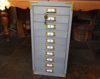 Vintage Industrial Metal 10 Drawer Filing Cabinet