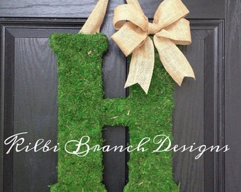 Moss Letter with Burlap Bow
