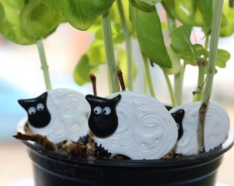 Sheep brooch of polymer clay
