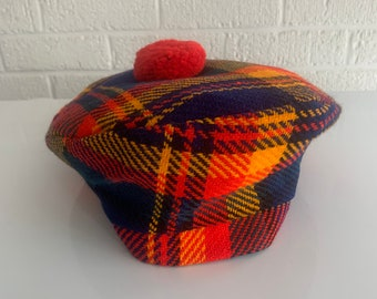 92c43b2921b Vintage 1960 s Plaid Beret Hat Cap Celtic Scottish e  Red Pom Pom Brilliant  Ref Blue Mustard Yellow Green Tartan