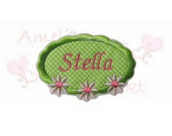 button with desired name patch green Flower Pink application with Name