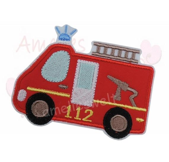 Applikation Feuerwehrauto große Punkte Aufnäher