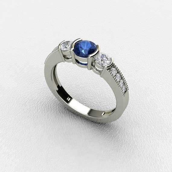 Princess-Cut Saphir Bleu Diamant Vintage boucles d/'oreilles pendantes argent 925 or 14K
