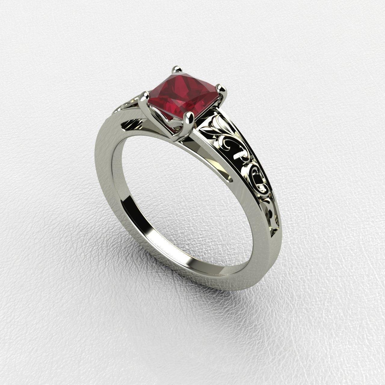 Princess Cut Ruby Engagement Ringvintage Ruby Ring 14k White Etsy