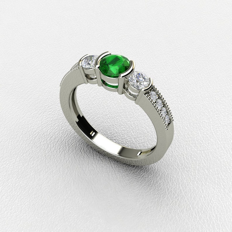 2e727b82e5863 Natural Emerald Ring | 3 Stone Emerald Ring | Green Emerald Diamond  Engagement Ring | Emerald 14K Rose Gold Ring | White Gold Emerald Ring