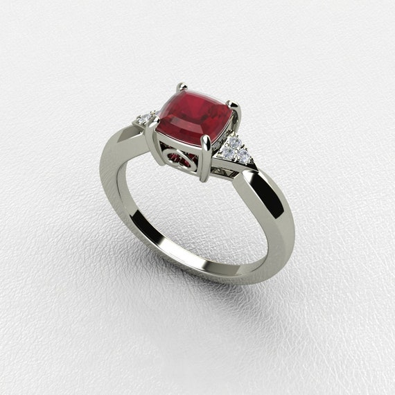 White Gold Ruby Engagement Ring Natural Ruby Ring Ruby And Etsy