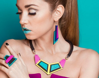 Colorblock Necklace Haindpainted Bib Necklace Colorful Wooden Necklace Geometric Statement Necklace