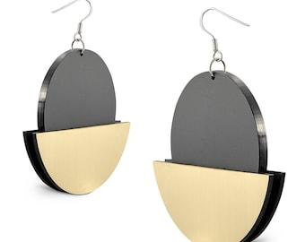 Geometric Modern Earrings Circle Statement Earrings Lasercut Perspex Earrings Moon Inspired Contemporary Earrings