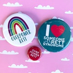 OVERPOWER RETT BUTTONS set of two 2.25-inch pins | buttons badges cure rett syndrome awareness girl power
