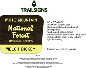 Welch-Dickey Trailhead White Mountain National Forest replica sign WMNF