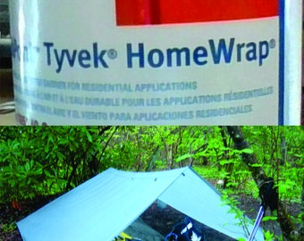 """Tyvek HomeWrap by the foot for camping, ultralight backpacking, tarping, crafts - 3' x 12"""""""