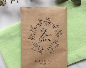 50 Let Love grow - Seeds Favor Bags - Wedding Favors