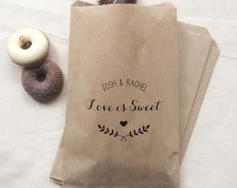 Love is Sweet Paper Bags - Wedding Favour Paper Bags - Kraft Candy Bar Bags