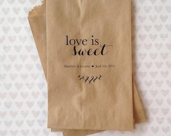 Set of 50 - Love is Sweet Kraft Paper Bags - Wedding Paper Bags