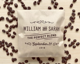 50 Coffee Favor Bags - The Perfect Blend - Coffee Wedding Favours - Kraft Wedding Favour Paper Bags