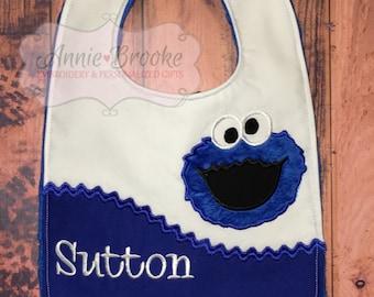 Blue Monster Personalized Bib, - Blue Monster Bib, - Monogrammed Baby Bib, - Embroidered Baby Bib, - Baby Shower Gift
