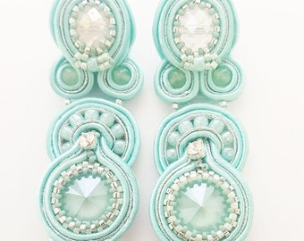 Lights summer Soutache earrings.  Mint milk and silver tone earrings. Handmade earrings. Pendante earrings