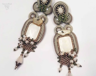 Elegant Soutache earrings with maother of pearl. Wedding jewelry. Gemstone earrings, Beaded earrings, statement earrings, Retro earrings