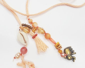 Bohemian necklace. Boho necklace. Pink salmon tone necklace. Beach jewelry. Summer bijoux. Wrap necklace. Made in Italy. Beach accessories