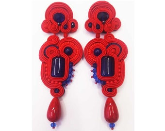 Red Blue earrings. Soutache earrings. Long soutache earrings. Summer earrings. Soutache bijoux made in Italy