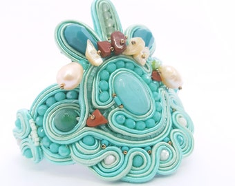 Soutache bracelet. Embroidery cuff. Summer bracelet embellished with pearls and mother of pearls. Cuff in  colors of sea and marine elements