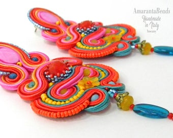 Soutache Earrings Flower Power - Spring summer earrings,  fashion luxury bijoux, light earrings