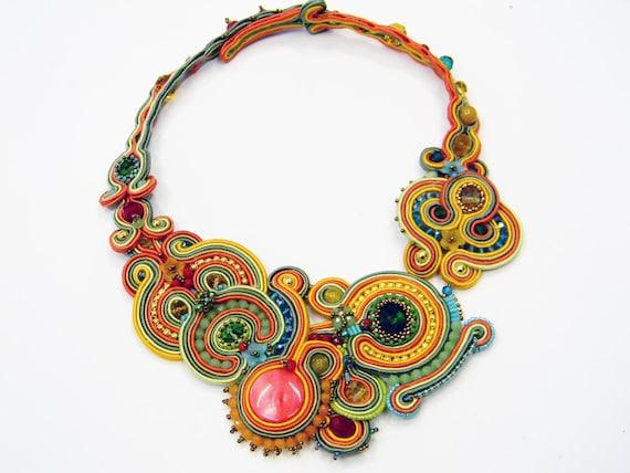 Soutache  necklace spring - Multi colored statement collar, fashion jewellry, soutache jewelry, soutache collar in multi color