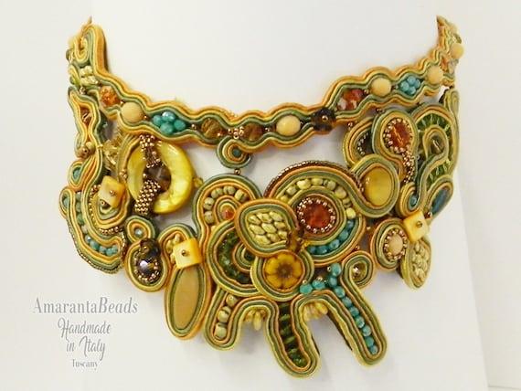 Soutache necklace, Soutache collar, Soutache statement jewelry, Embroidery soutache, Made in Italy,  Luxury soutache, Couture jewelry