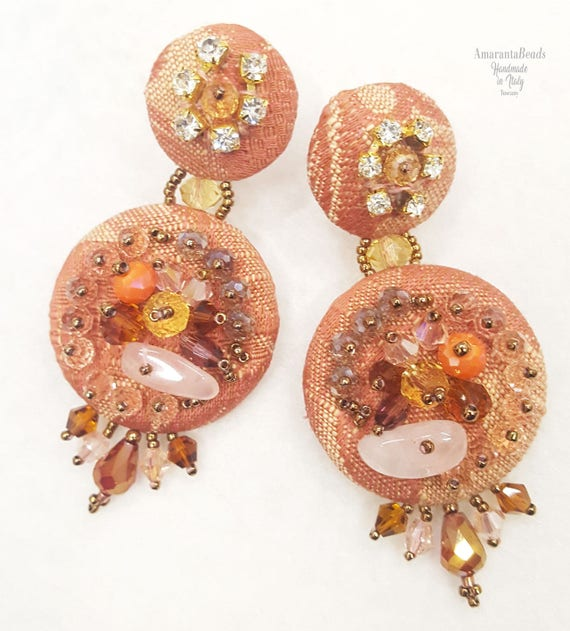 Embroidered brocade earrings with rocailles miyuki e glass beads