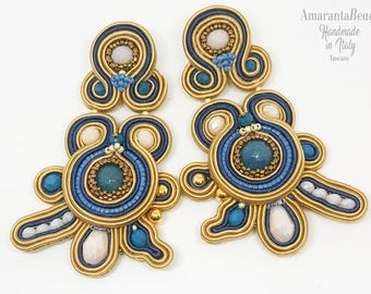 Summer soutache earrings. Light medium long soutache handmade earrings made in Italy