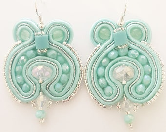 Light summer handmade earrings in soutache, short water-green color (milk and mint)