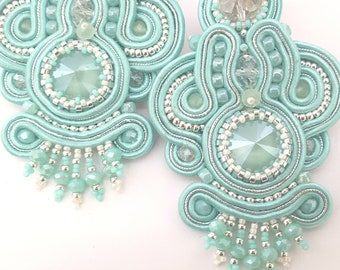 Soutache dangle earrings. Wedding accessories. Mint milk earrings. Light  earrings. Orecchini chandelier. Boucles d'oreille soutache.