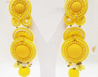 Soutache Earrings , embroiderd textile jewels , yellow earrings
