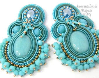 Soutache earrings Hola  soutache earrings  Light and fashionable  - handmande embroidered no glue!