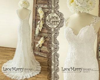 346de7e60 Lace Applique Wedding Dress from Lightweight Fabrics, Trendy Wedding Dress  with Deep Neckline and Open Back - Country Wedding Dress