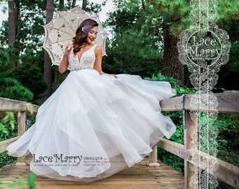 33cae1fb30 Horsehair Wedding Skirt with Multiple Layers of Organza with Wide Hem -  Ivory Bridal Over Skirt from Lightweight Organza for Summer Wedding