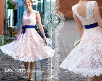 Short Blush Wedding Dress from Alencon Lace with Knee Length A-Line skirt | Short Summer Wedding Dress, Short Lace Dress, Wedding Dress