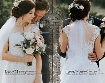 Bohemian Summer Wedding Dress with Airy Tulle Skirt | Boho Wedding Dress, Illusion Neckline Wedding Dress, Beach Wedding Dress