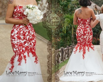 88fb581623c Red Lace Wedding Dress with Ivory Tulle