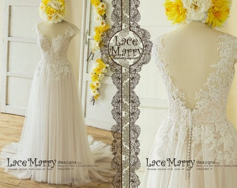 A-Line Wedding Dresses Ivory Bridal Gown Lace Wedding Dress Boho Wedding  Dress Custom Made Dress Bridal Dress A Line Wedding Dress 1094c0a2bf96