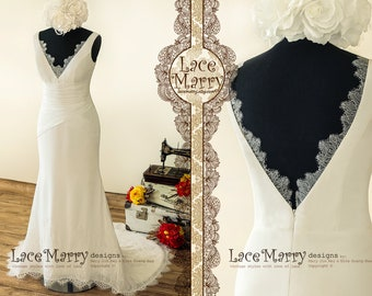 8efa73c41b2 Fitted Sheath Chiffon Wedding Dress with Soft French Lace Deep V Cut  Neckline and Back Featuring Folded Cross Design and Chantilly Lace Hem.  LaceMarry