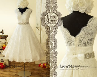 3bf68bbb238 Tea Length Wedding Dress from Alencon Scalloped Lace with Illusion V  Neckline and V Cut Back in Wide A Line Shape